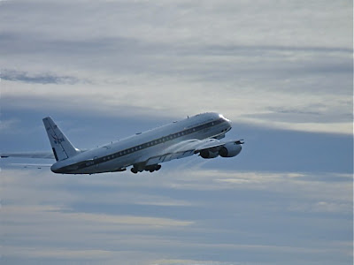 NASA's DC-8, a flying science lab, after takeoff from Punta Arenas, Chile, on the first science flight of the Operation IceBridge Antarctic 2010 campaign.