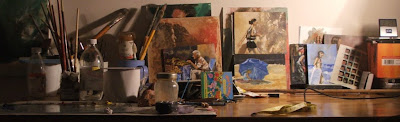 The eclectic mind of my desk - my desk an pallet - artist stephen scott