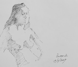 Pen sketch - Seated nude composition drawing by artist stephen scott