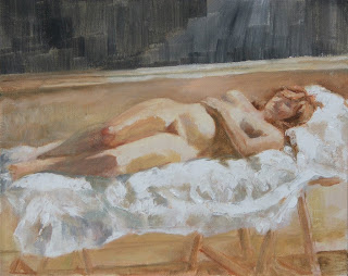 Reclining nude – Red hair and creamy skin - Stephen Scott