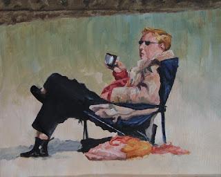 Coffee on a winter's beach - Oil Painting - Stephen Scott
