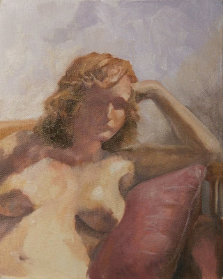 Seated nude with a red cushion - oil painting on board by South African artist, Stephen Scott