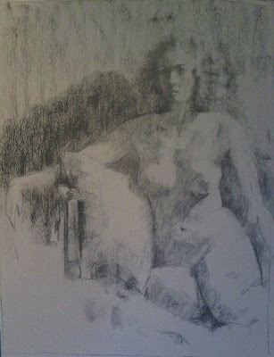 Seated nude - charcoal on paper by Stephen Scott