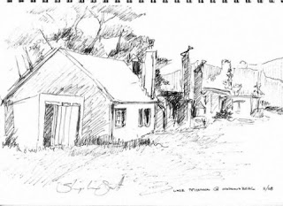 Matroosberg Cottages - pen sketch by South African Artist - Stephen Scott