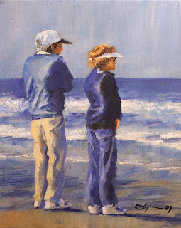 Beach couple, oil painting, Stephen Scott