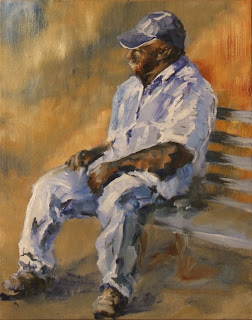 Waiting for the train - oil on board - Stephen Scott