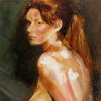 Seated girl (Oil on canvas) by South African artist - Stephen Scott