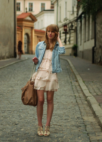 dress with denim jacket