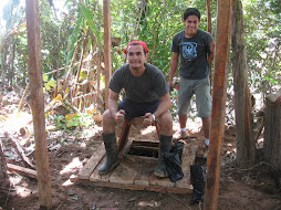 Cristian inaugurating the outhouse