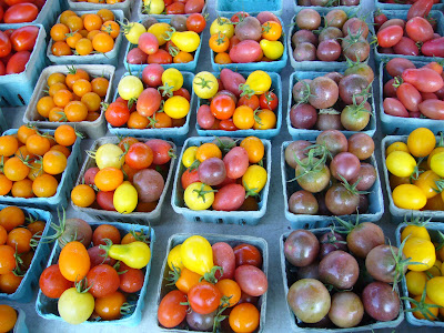 Colorful tomatoes - local food at farmer's market