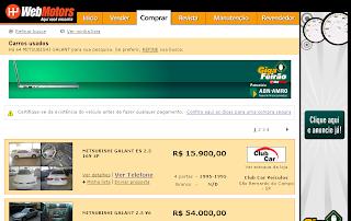 Passo 5 - Página de compra do site do Webmotors
