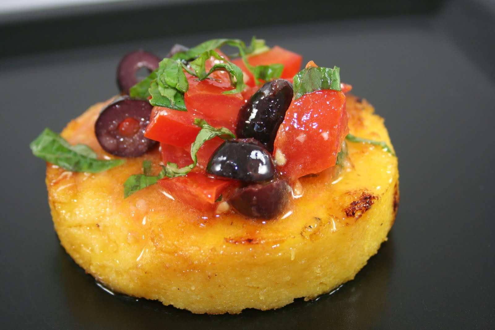 Crostini and Chianti: Grilled Polenta Cakes with Bruschetta Topping