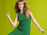 yeşil çok hoş bayan örgü elbise