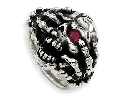 Red CZ Skull Mens Ring