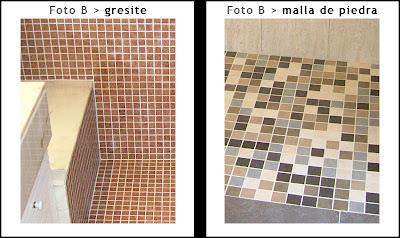 Colocación de gresite o de malla cerámica en platos de ducha tras la extracción de la bañera.