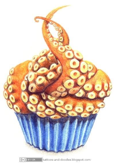 Tattoos And Doodles Octopus Tentacles Cupcake
