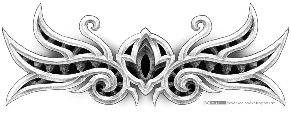 A kind of gothic / tribal tattoo design. I like the carving effect,