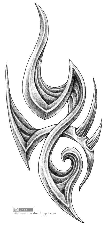 A tribal bio/organic tattoo, I guess. I wish I could do the shading faster
