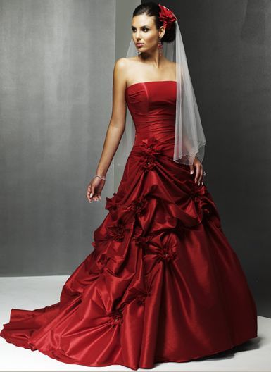 red heart color wedding dresses