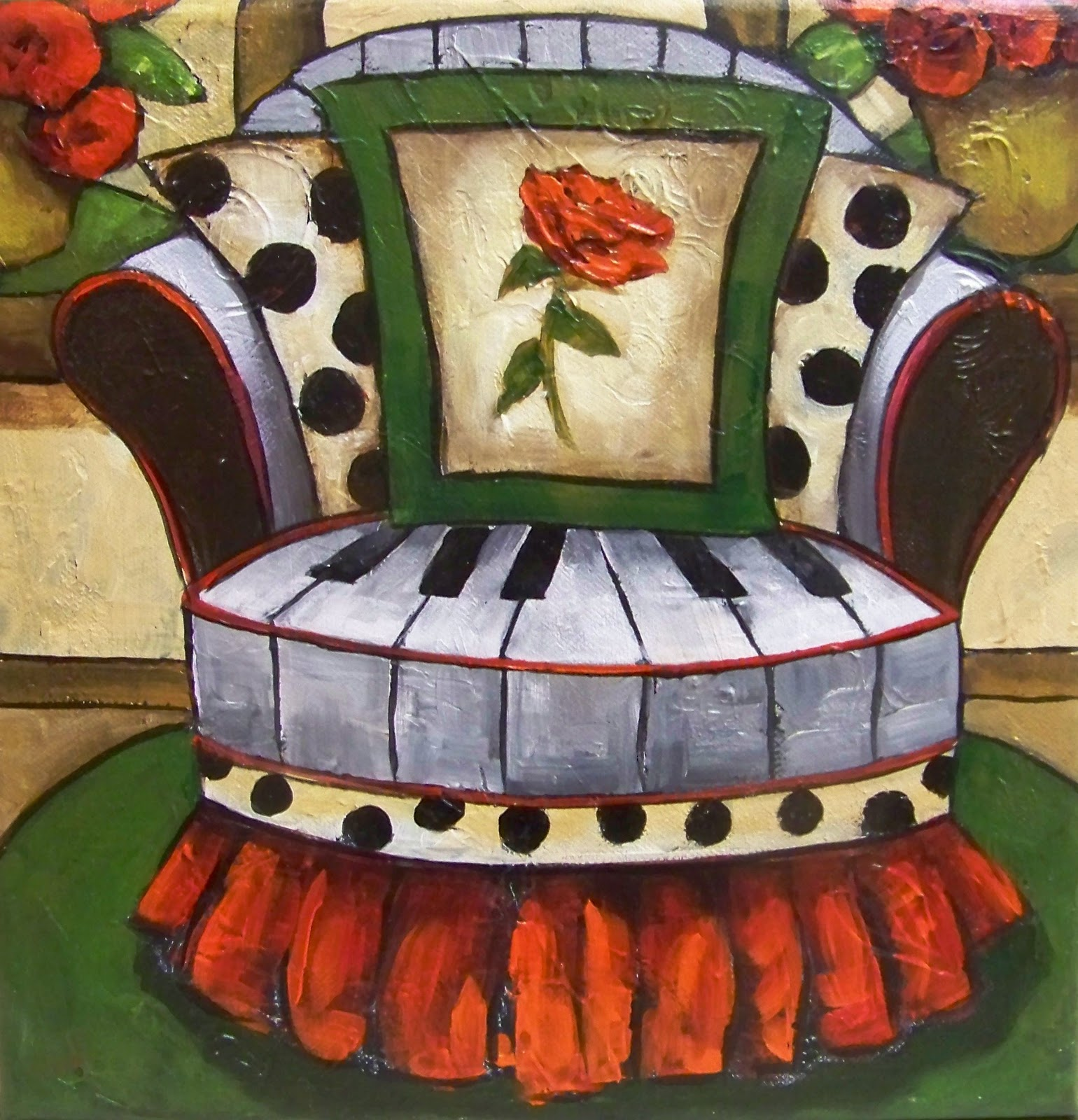 WHIMSICAL CHAIR PAINTING  PIANO CHAIR  & WHIMSICAL CHAIR PAINTING