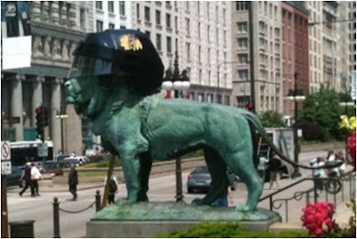 Chicago shows support for the Blackhawks with giant helmets