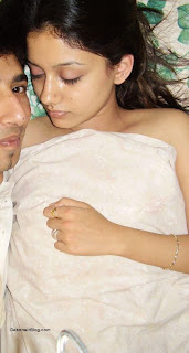 Petite Pakistani babe lying Naked on bed with boyfriend