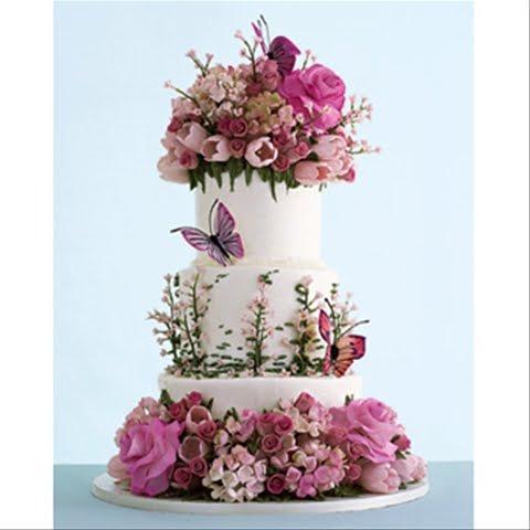Ariel yve design happy birthday to me for Garden wedding cake designs