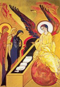 Icono que muestra la escena de las santas mujeres en el sepulcro vacio