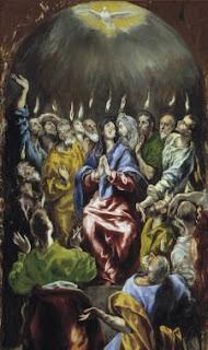 Representación de la venida del Espíritu Santo, en forma de lenguas de fuego, sobre la Virgen y los Apóstoles el día de Pentecostés. El Greco (1600)
