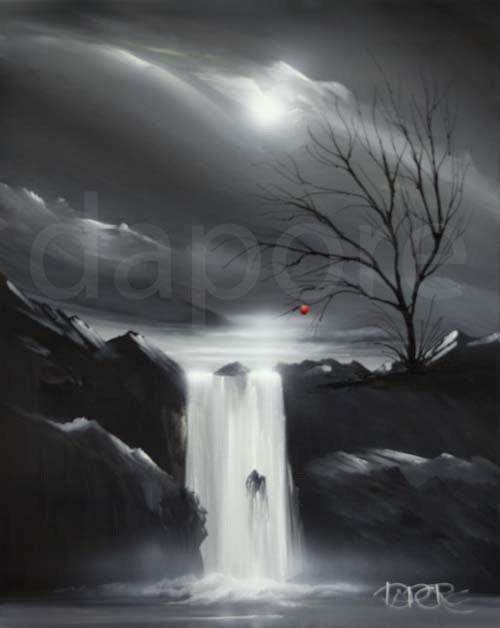 Acrylic painting landscape black white by theo dapore for Black white canvas paintings