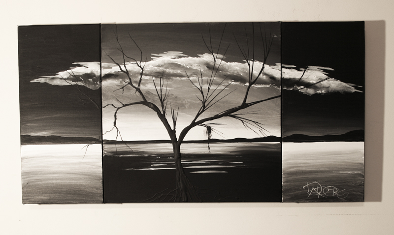 Black white grey landscape art triptych tree wall canvas art painting