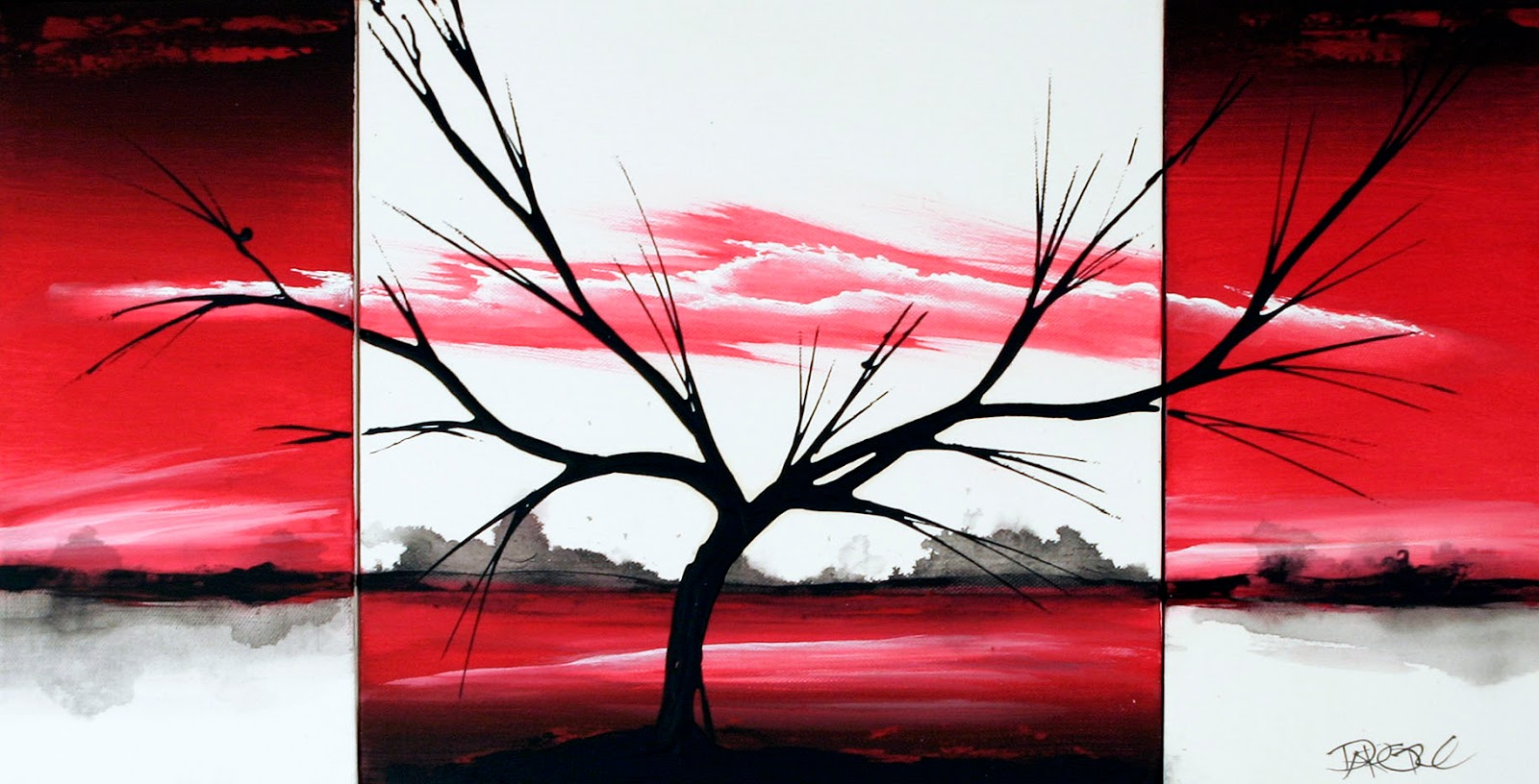 Red original fine art paintings by Dapore Red landscape painting original art on three canvas