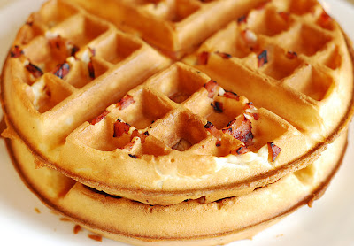 waffles with bacon and ham inside