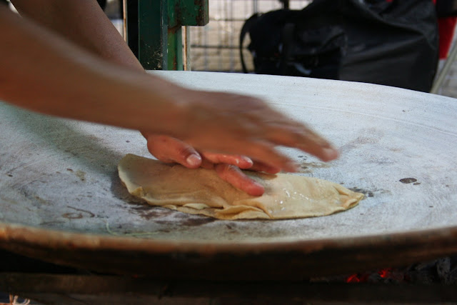 Mexican-style pancakes, a kind of tostada in Oaxaca