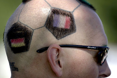 World Cup football fan haitcuts