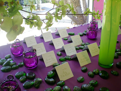 Beautiful shades of lime green and purple formed the inspiration for this