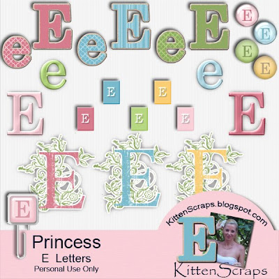 http://kittenscraps.blogspot.com/2009/10/princess-letter-e-freebie.html