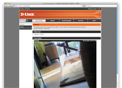 D-Link DCS-930L Admin page configured on Sensr.net
