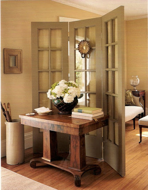 Double Acting Hinges Are Used To Secure The Three French Doors Together.  They Enable The Doors To Fold In Both Directions, Which Is A Luxurious  Bonus.