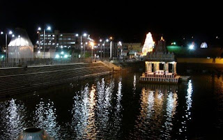 Temple Tank (Pushkarni) in night