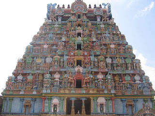 Closer View of Awesome  Temple Tower with colorful Sculptures