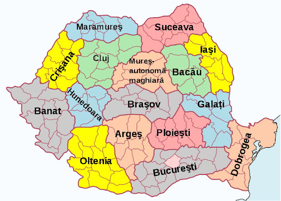 Împărţirea României în regiuni în perioada 1960-1968