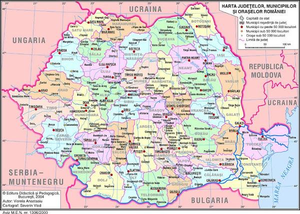 Harta administrativă a României
