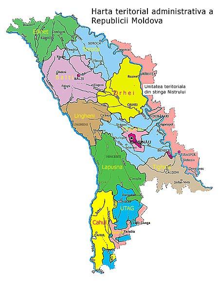 Harta Republicii Moldova până în anul 2003