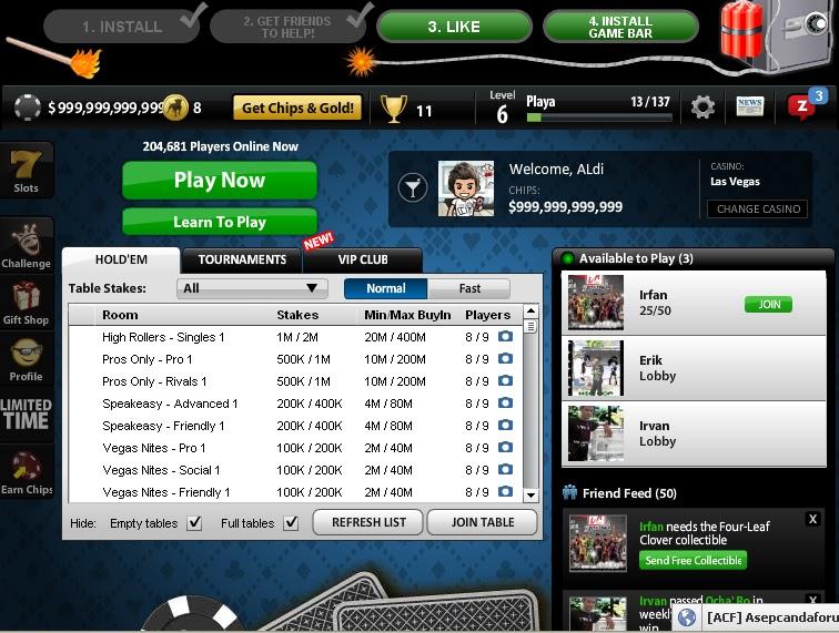 Code/cheat chip texas holdem poker di facebook
