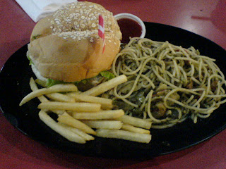 Meister's Seafood Pasta and Burger Combo