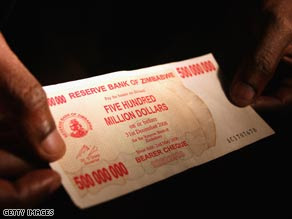 500 million dollars bank note in Zimbabwe