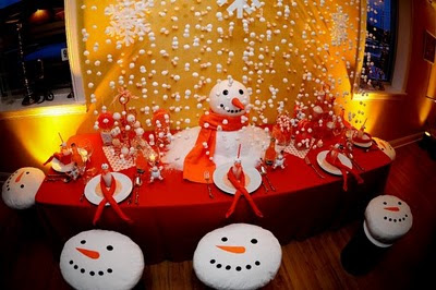 snowman party dessert table with snowman seats