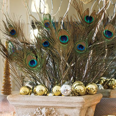 Peacock feather christmas decoration