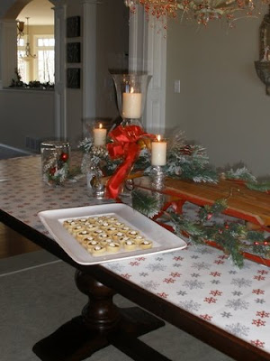 Tablescape With Vintage Sleds And Cookie Exchange Oh My